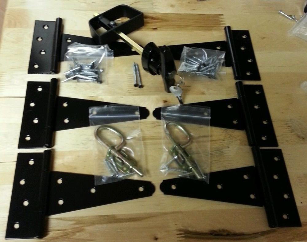 Doors & Door Hardware Shed, Gate double door hardware kit: T handle lock, 6'' T hinges, Barrel bolts