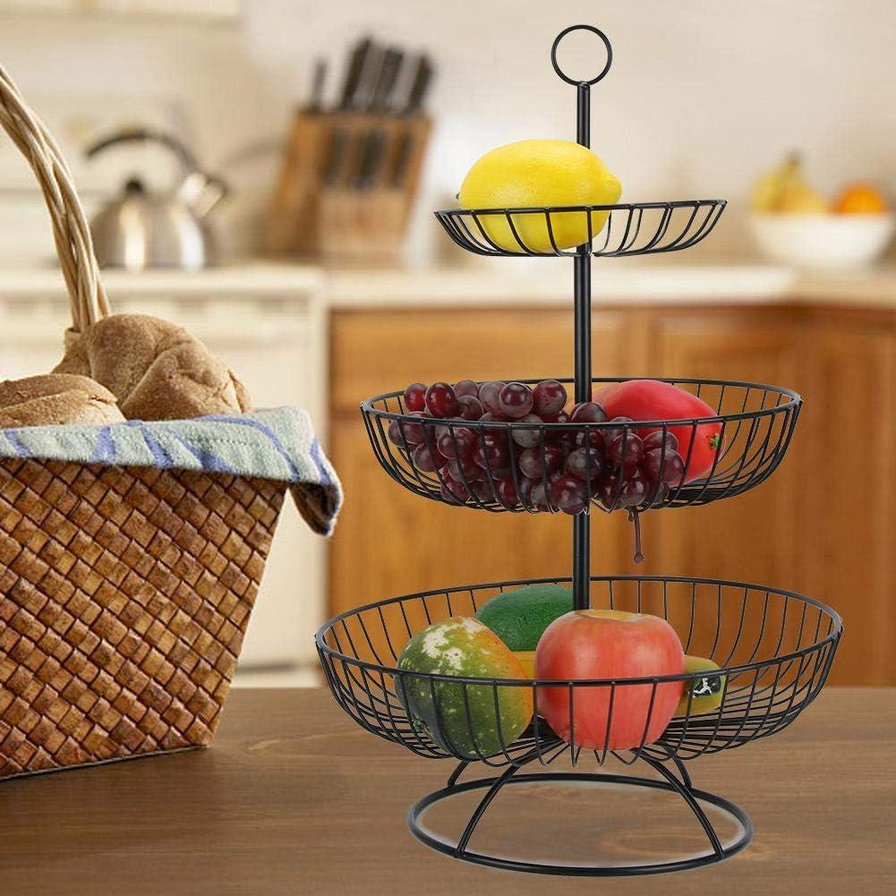 Plato de frutas de 3 niveles Sala de estar para el hogar Plato de plato de frutas moderno de 3 niveles Bandeja de almacenamiento Bandeja Vajilla para bodas y hogar Negro