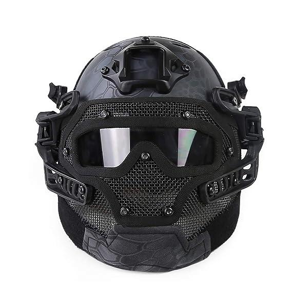 DLD Casco táctico, Casco de Seguridad al Aire Libre Equipo de protección Deportiva Luz para la Guerra Apoyos del Juego Personal de Seguridad DLD-015: ...