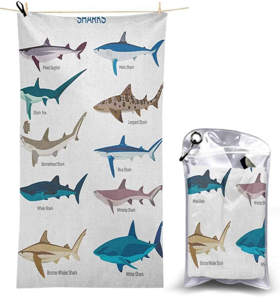 Ahuimin Mirofiber Travel Beach Towel, Collection Types of Sharks Bronze Whaler Piked Dogfish Whlae Shark Maritime Design 63 x 31 Inch Great Travel Towel for backacking