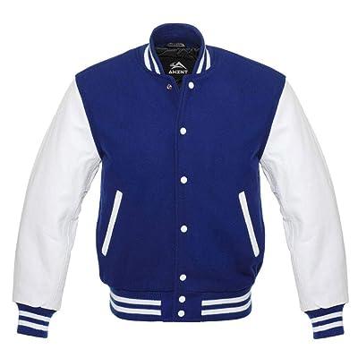 Varsity Letterman Baseball Green Wool /& White Genuine Leather Sleeves Jacket