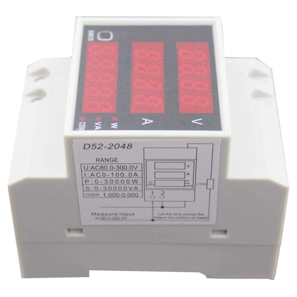 SODIAL D52-2048 DIN Rail Digital Voltage Current Voltmeter Power Meter Ammeter
