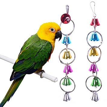 Wicemoon Parrot Colored Bell String Bite Toy Cage Pendant Toys Cage