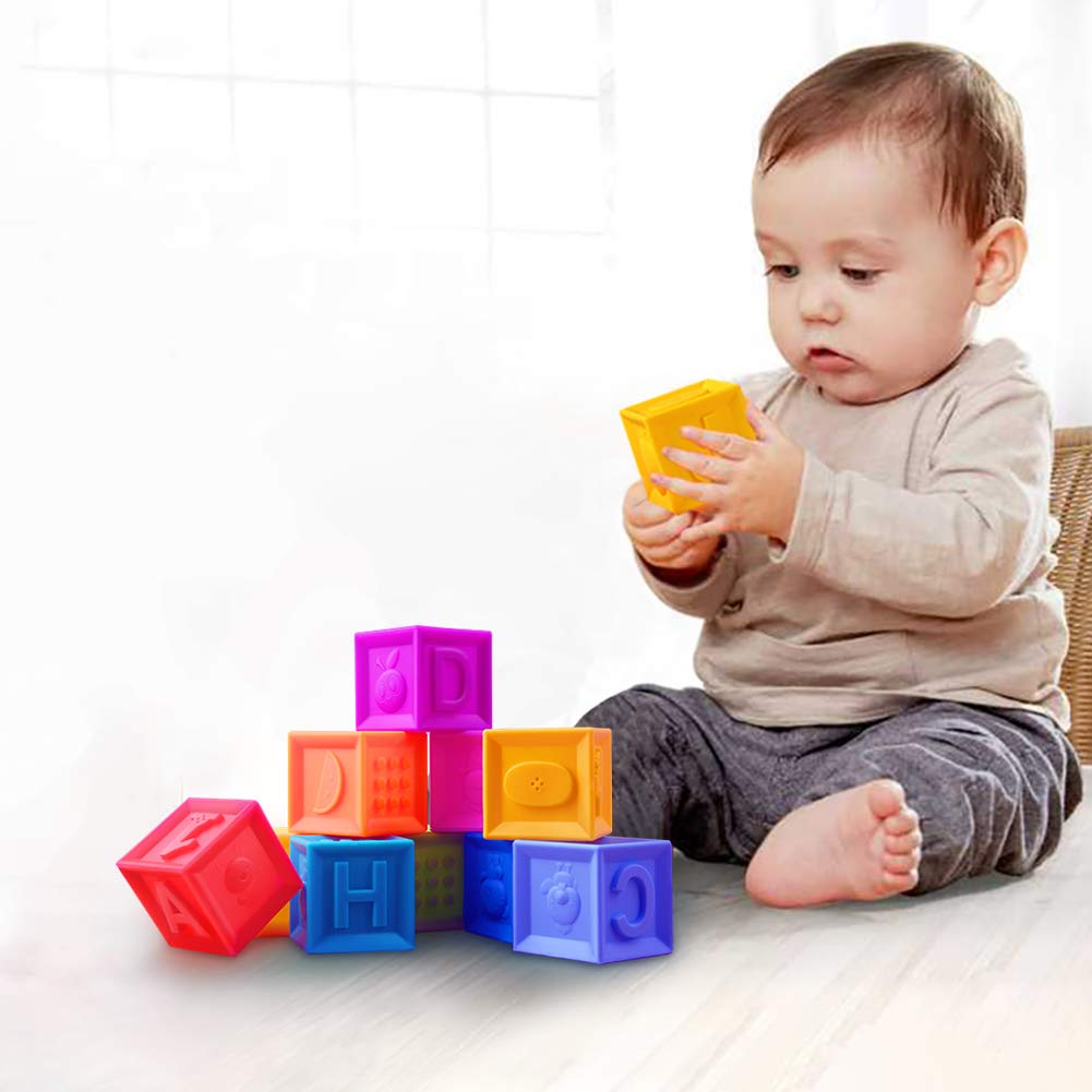 Baby Blocks, Soft Stacking Blocks Squeeze Stack Building Blocks for Toddlers - Teething Chewing Toys Educational Baby Bath Play with Numbers, Shapes, Animals & Textures for Age 4-12 Months - BPA FREE