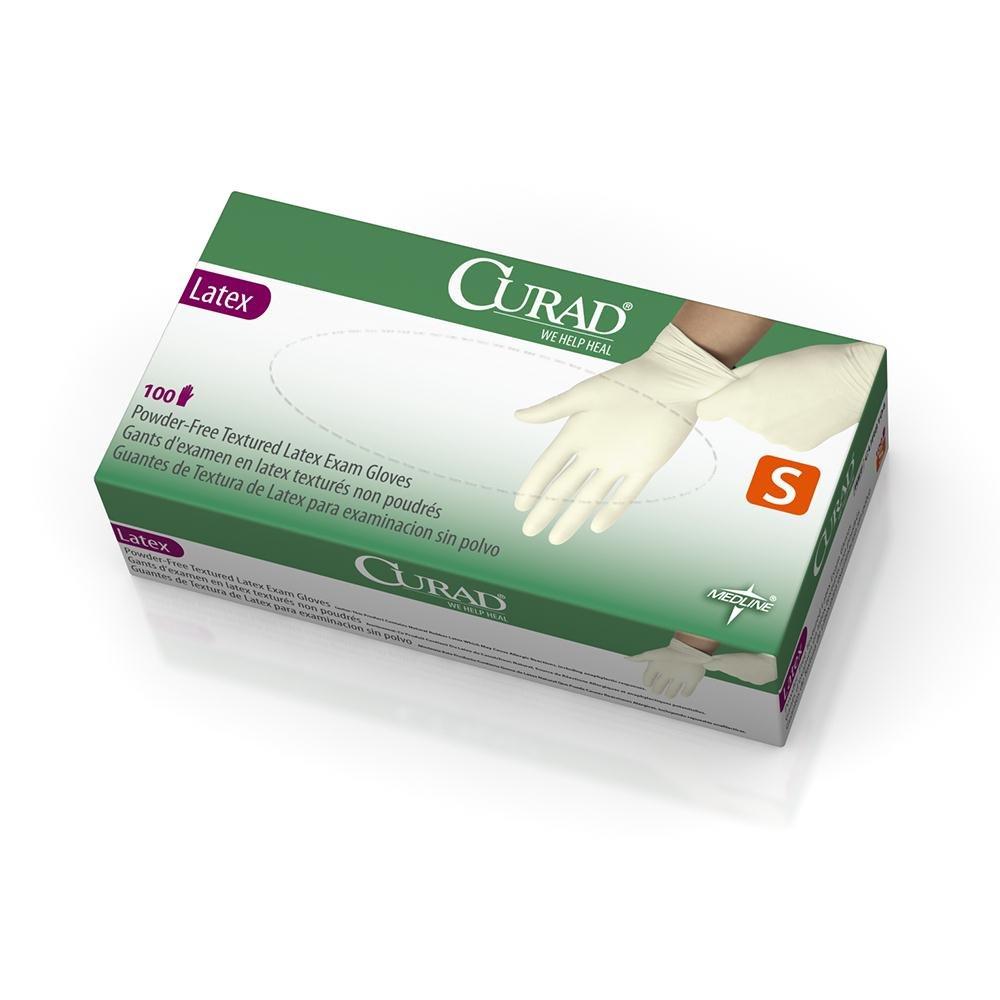 Curad PowderFree Latex Exam Gloves, Small, 100 Count