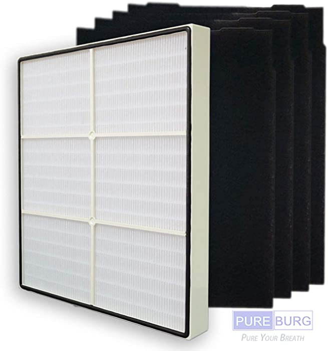 Pureburg Replacement 1 HEPA Filter and 4 Carbon Pre-Filters for Whirlpool Whispure 8171434K 1183054K 1183054 Fits AP450 AP510 AP51030K AP51030KB AP45030K WP500 WP1000 APR45130L Kenmore 83375 83376