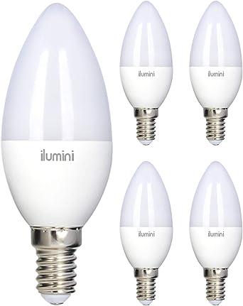 ilumini Bombillas LED C37 Vela, Casquillo E14,7W equivalente a 55w, 6500K Luz Fría, 700 Lúmenes [Clase de eficiencia energética A+] PACK DE 5: Amazon.es: Iluminación