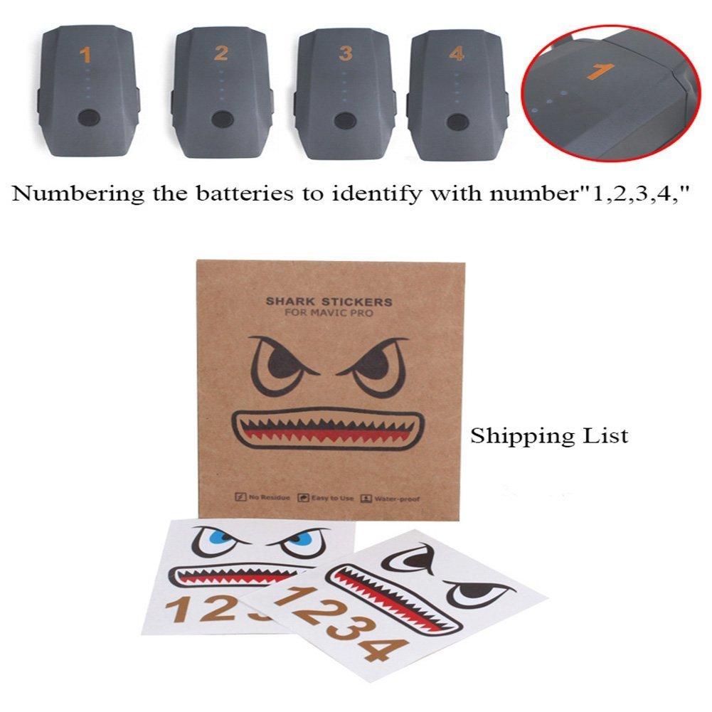 Crazepony-UK Mavic Pro Sticker Decal Skin Guard Battery Number Sticker Shark face Decal Drone Sticker 3M Waterproof DJI Drone Accessories Mavic Air DJI Spark Skin Sticker Decal