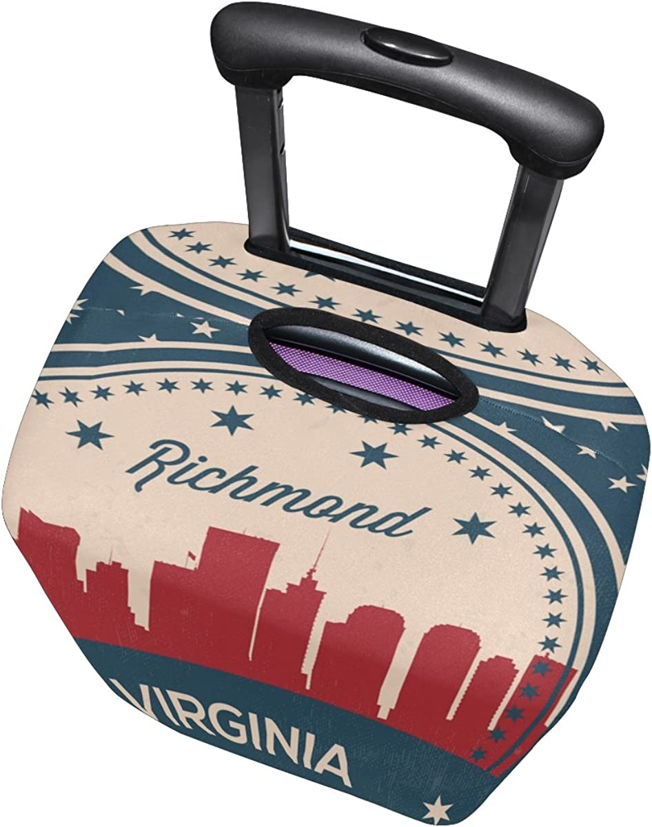 Vintage American Flag Virginia State Richmond Skyline Luggage Cover Travel Suitcase Protector Fits 18-21 Inch Luggage