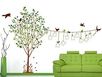 Decals Design U0027Family Tree With Blank Photo Frames Hanging On String And  Birdsu0027 Wall Part 64