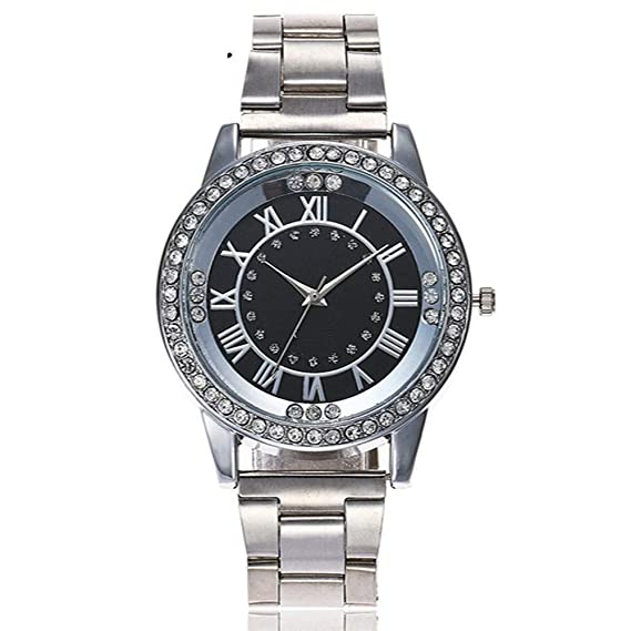 ZXMBIAO Reloj De Oro Rosa con Diamantes De Imitación para Mujeres Relojes De Pulsera De Acero Inoxidable, Plata Y Negro: Amazon.es: Relojes