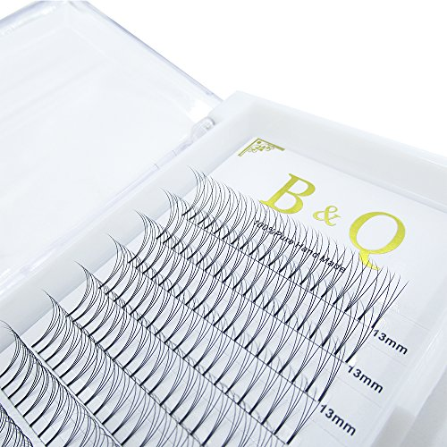 Premade Volume Fans Eyelash Extensions 12 Rows/Tray Short Stem Russian Volumes Lashes Extensions Fans Individual Cluster Eyelash Extensions (3D-C curl-0.07, 13mm)