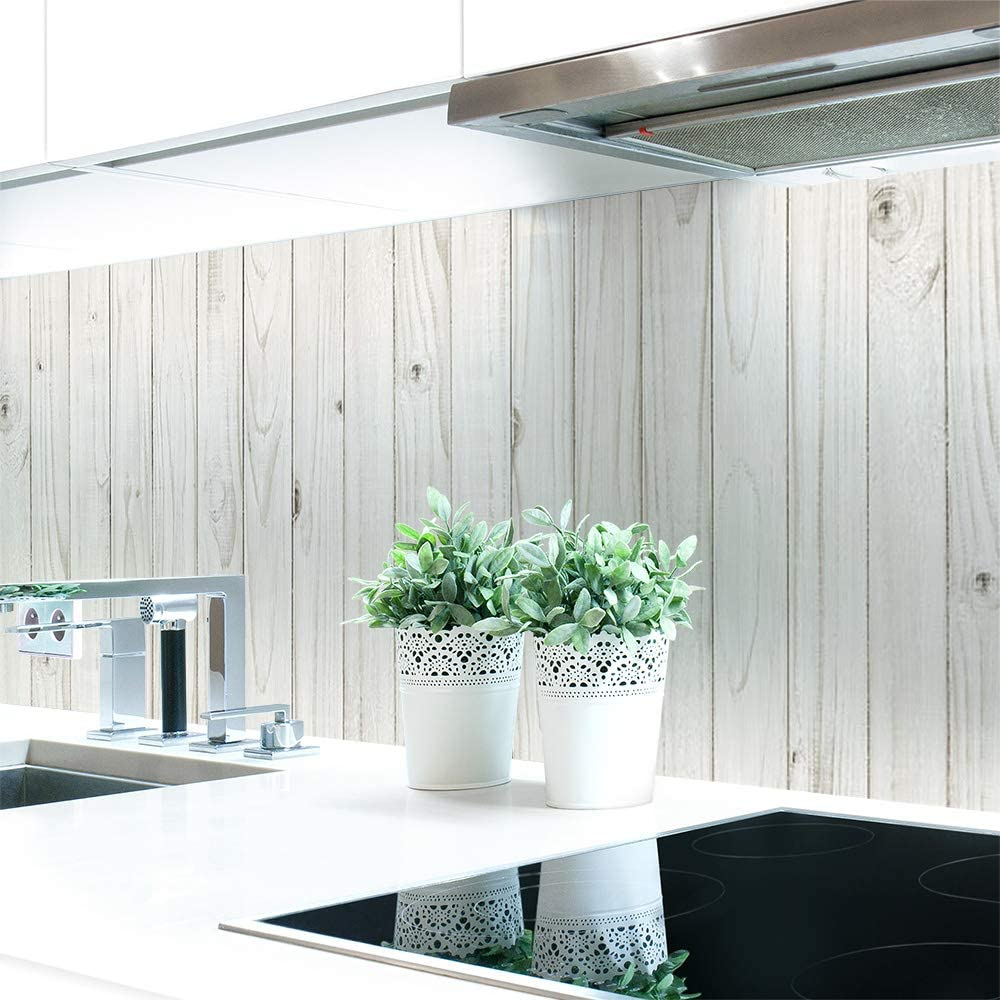 Amazon De Kuchenruckwand Holzwand Weiss Premium Hart Pvc 0 4 Mm Selbstklebend 400x80cm