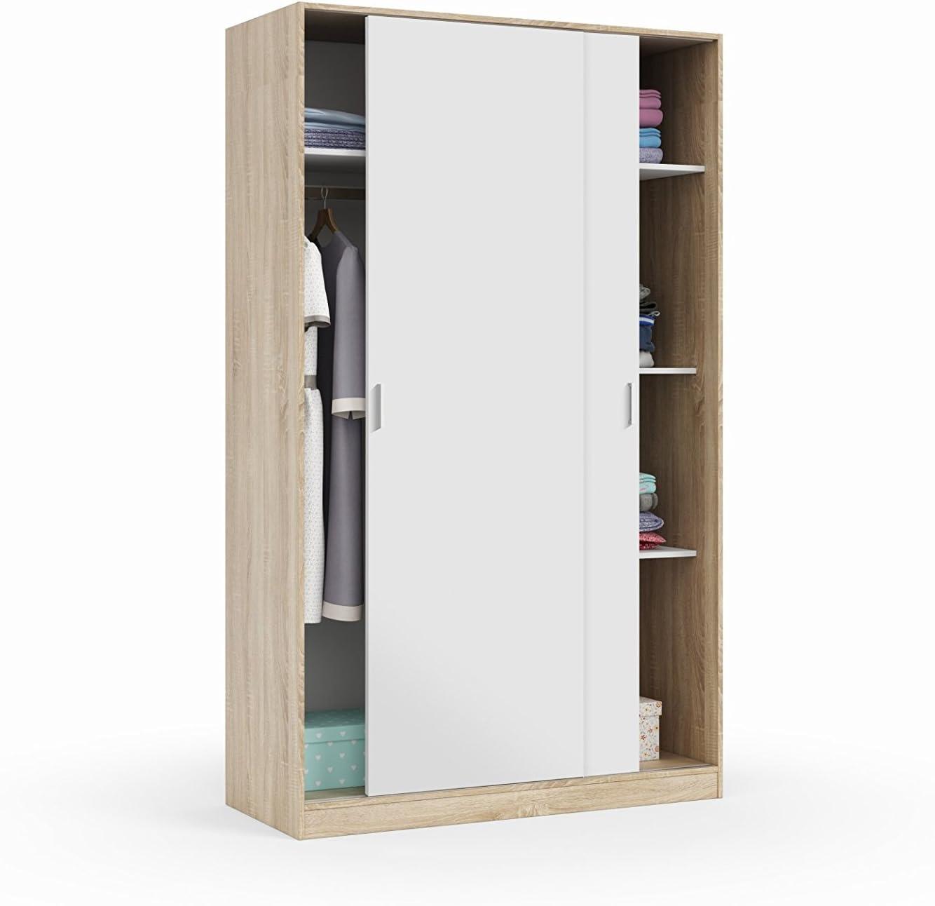 Habitdesign MAX120F - Armario Dos Puertas correderas, Armario ropero Tres estantes, Medidas: 200 x 120 x 50 cm (Blanco Artik y Roble Canadian)