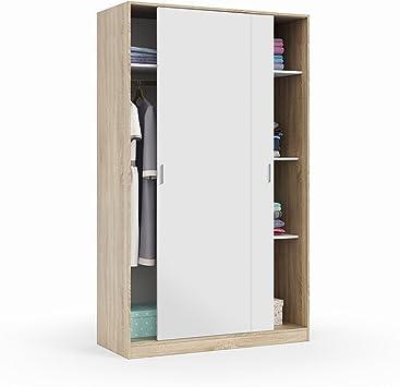 Habitdesign MAX120F - Armario 2 Puertas Correderas y Estantes, para Dormitorio o Habitacion,Acabado en Blanco Artik y Roble Canadian, Medidas: 120 cm (Largo) x 200 cm (Alto) x 50 cm (Fondo): Amazon.es: