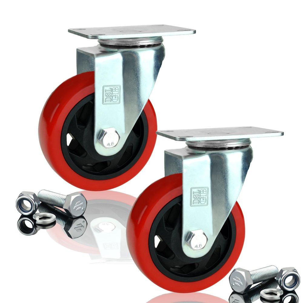 DSL 2 x Heavy Duty BRAKED Double Bearing 100mm Rubber Swivel Castor Wheel Trolley Furniture Caster 350KG Free Fitting