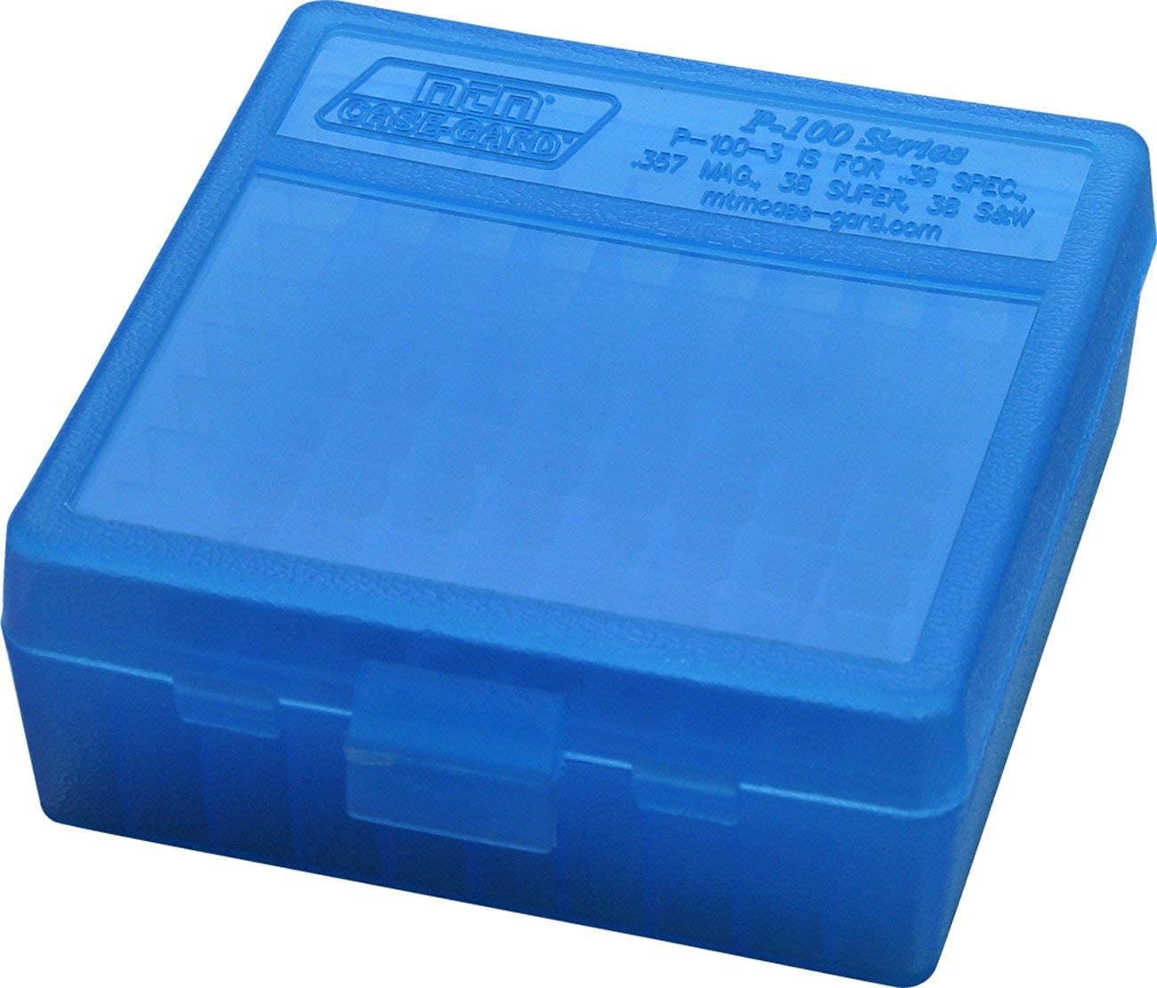 MTM Plastic Ammo Box, Clear Blue 100 Round 38/357 61O0sOVs3vL