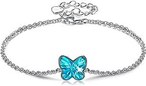 ANGEL NINA Pulsera Regalo para Ella, Serie Mariposa, Cristales de Swarovski, Plata de Ley 925, Platino Plateado, Exquisita Caja de Regalo