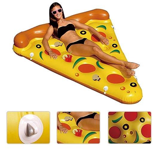MNII gigante Pizza Pool Party flotador balsa, Floatie inflable Lounge / Pool Loungers juguete para adultos y niños de 150 * 180 cm- Bola flotante inflable ...