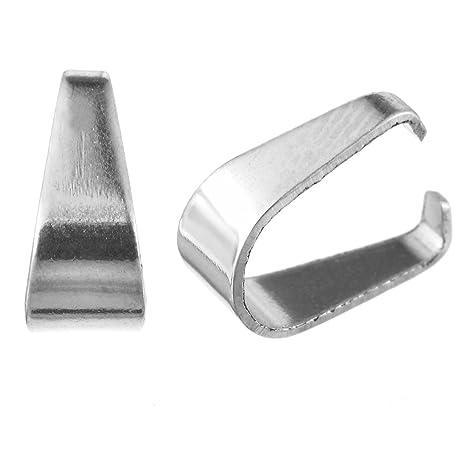 Souarts Lote de 100Pcs Belieres enganche colgante cierre acero inoxidable color plata mate 7.7 x 5.4 mm