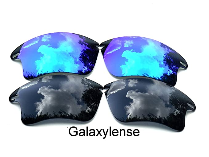 1b6a0985198 Galaxy Replacement Lenses for Oakley Fast Jacket XL Black Blue Color  Polarized 2 Pairs