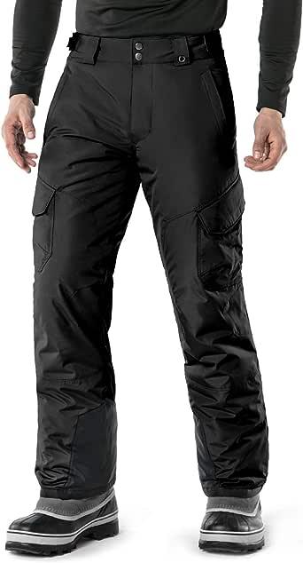 TSLA Men's Basic/Cargo/Overalls Waterproof Ski Snowboard Snow Pants, Warm Water-Repel Ski Jacket Short Parka for Outdoor Camping Hiking Coat