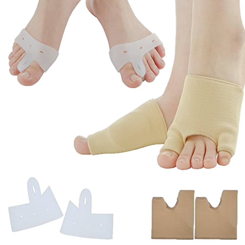 Sumifun Gel Half-Toe Metatarsal Pads Kit- Half Toe Sleeve Pads & Toe Separators & Bunion Corrector for Straighteners splint Aid surgery treatment, Prevent Pain, Calluses and Blisters (Style 1)