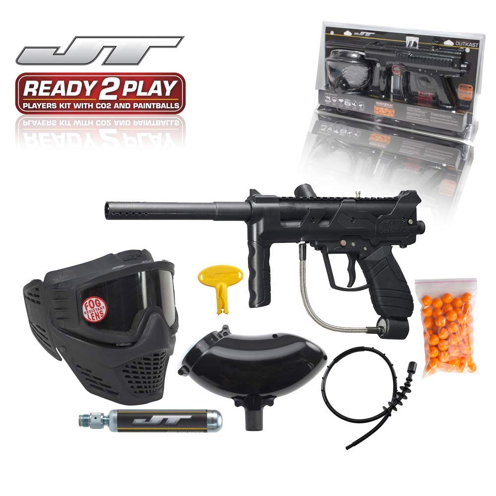 JT Outkast .68Cal Paintball Kit Includes Guardian Goggle, 90G Co2 Tank, 200Rd Loader, Black by JT