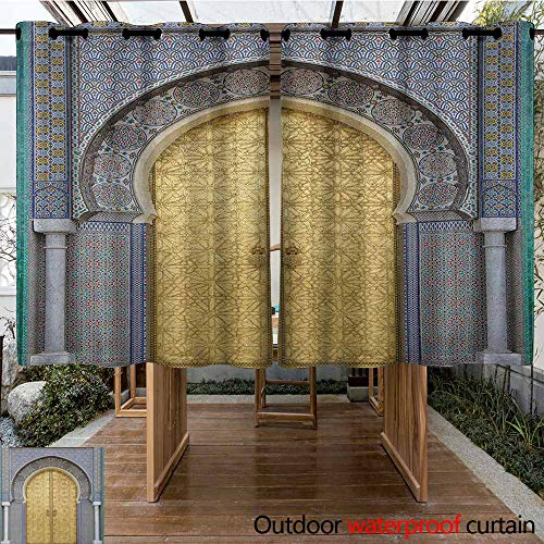 AndyTours Living Room/Bedroom Window Curtains,Moroccan,Antique Doors Morocco Gold Doorknob Ornamental Carved Intricate Artistic,Darkening Thermal Insulated Blackout,K183C115 Yellow Teal Blue