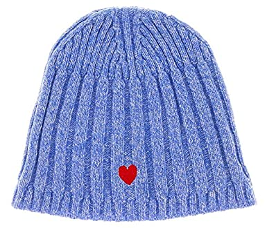 Moschino CAP01222 V3 Blue Wool Blend Chunky Ribbed Bobble Hat for womens c25bfc9c03b