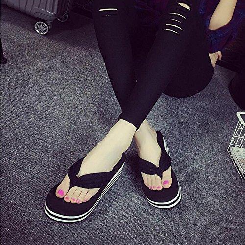Sandales 2 Size love Tongs EU 38 Black Plateforme Compensées beauty Color Tongs Confortables 3 Angel pour Femmes Black Tongs à B4qqgw