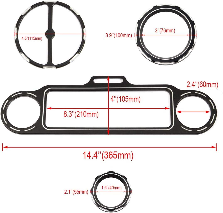 Lalaparts Black 9pcs CNC Burst Speedometer Gauge Bezels Kit Compatible for Harley Street Glide 1996-2013