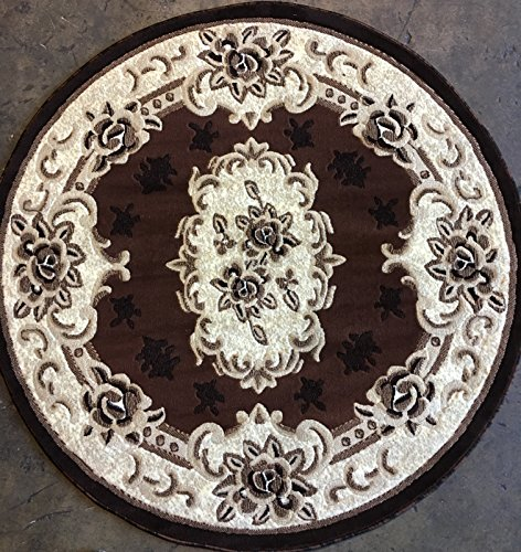 oral Aubusson Rug Brown Design 507 (5 feet 3 inch X 5 feet 3 inch Round) (Aubusson 8' Round Area Rug)
