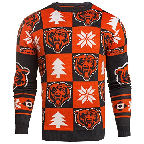 NFL Mens 2016 Patches Ugly Crew Neck Sweater, Chicago Bears