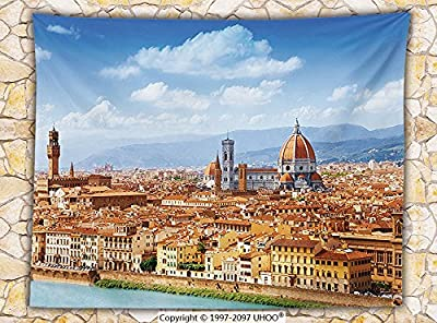 Wanderlust Decor Fleece Throw Blanket Cityscape Panorama of Arno River Towers and Cathedrals of Florence Heritage Throw