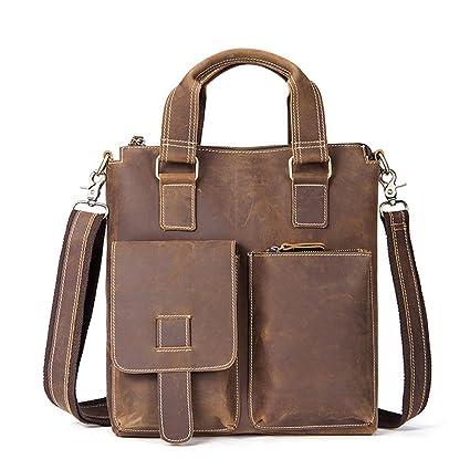 AJZGF Business Briefcase Mens Leather Briefcase Zipper Tote Shoulder Crossbody Bag