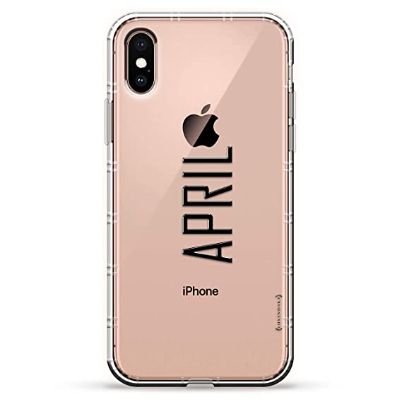 Name: April, Modern Font Style | Luxendary Air Series Clear Silicone Case with 3D Printed Design and Air-Pocket Cushion Bumper for iPhone X/Xs