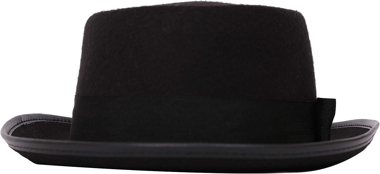 Fits 58 cm Head Size Adults Black Pork Pie Hat Classic Black Pork Pie HAT Mods and Movies Pork Pie Hat for Men and Women