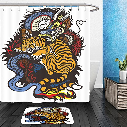 Tiger Woods Halloween Costume Ideas (Vanfan Bathroom 2?Suits 1 Shower Curtains & ?1 Floor Mats dragon and tiger fighting tattoo illustration 162088691 From Bath room)
