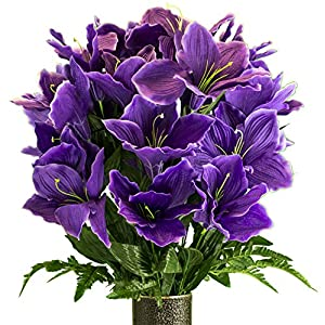 Purple Amaryllis, Artificial Bouquet, featuring the Stay-In-The-Vase Design(c) Flower Holder (MD2080) 54