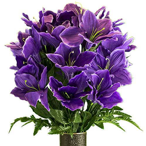 Amaryllis Vase - Purple Amaryllis, Artificial Bouquet, featuring the Stay-In-The-Vase Design(c) Flower Holder (MD2080)