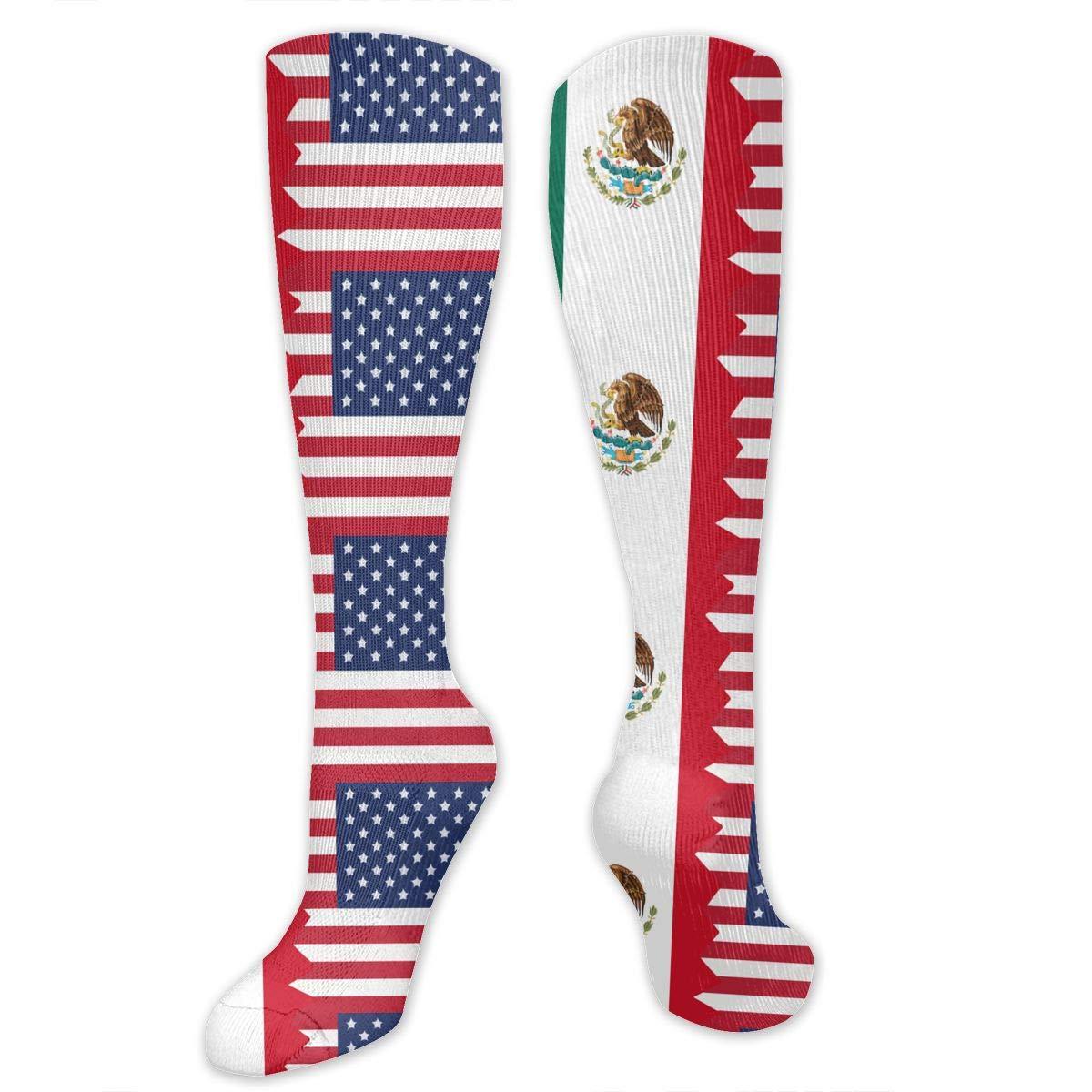Unisex Mexico USA Flag Knee High Compression Thigh High Socks Soft Socks