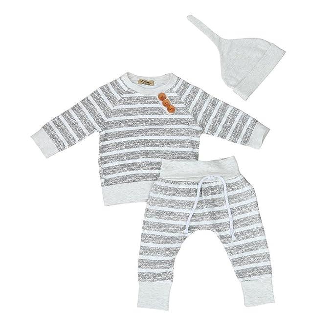 Ropa Bebe Niño Invierno, Zolimx 3Pcs Bebé Recién Nacido Niño Niña Ropa de Rayas Camiseta Tops + Pantalones + Sombreros Conjuntos
