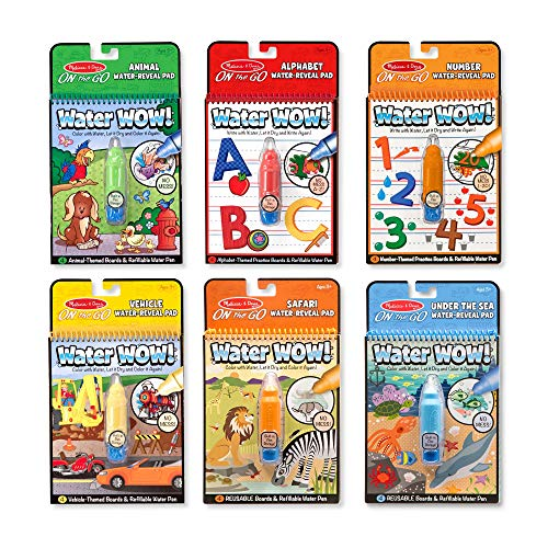 Melissa & Doug On the Go Water Wow! Reusable Travel Activity Pad 6-Pack (Alphabet, Number, Safari, Vehicle, Animal, Under the Sea, Great Gift for Girls and Boys - Best for 3, 4, and 5 Year Olds)