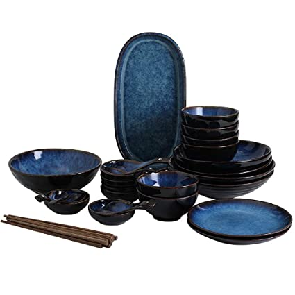 5cd63f9737ee Amazon.com: 32-Piece Japanese Cat's Eye Blue Porcelain Dinner Sets With  Bowls/Plates/Spoons/chopsticks/Deep Basin, Service For 6: Kitchen & Dining