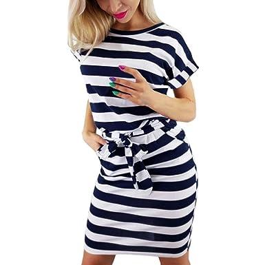 Damen Kurzarm Kleid Midikleid Hemdkleid Tunika Strandkleid Sommer Freizeitkleid