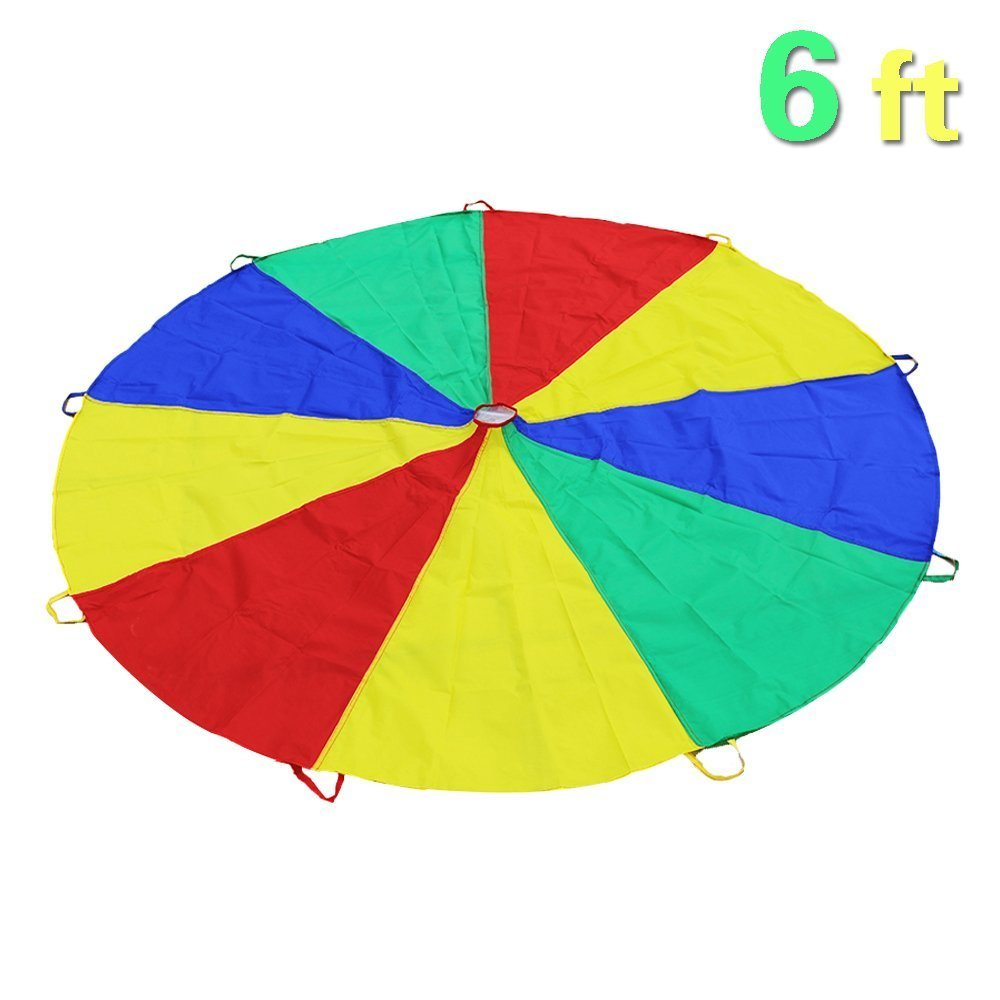 Everfunny Play Parachute, Children 210T Rainbow Play Parachute 6 feet with 9 Handles for 3-8 Kids Play Games