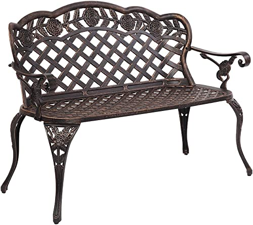 VINGLI 42.5 Patio Garden Bench Outdoor Metal Rose Loveseat,Cast Iron Cast Aluminium Frame Antique Finish Park Chair,Accented Lawn Front Porch Path Yard Bronze Decor Deck Furniture for 2 Person Seat