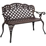 "VINGLI 42.5"" Patio Garden Bench Outdoor Metal Rose Loveseat,Cast Iron Cast Aluminium Frame Antique Finish Park Chair…"