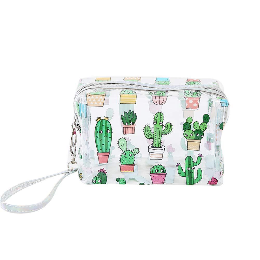 Neceser o bolsa de mano transparente con patrón de cactus. Opción de mas diseños.